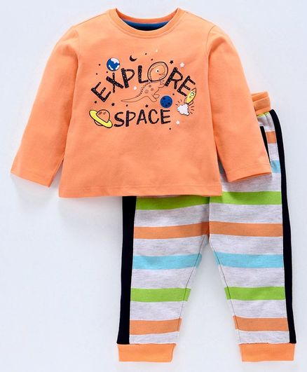 Babyoye Full Sleeves Tee & Striped Lounge Pant Space Print - Orange