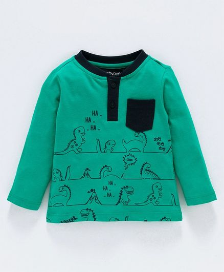 Babyoye Cotton 3D Henley Tee - Green