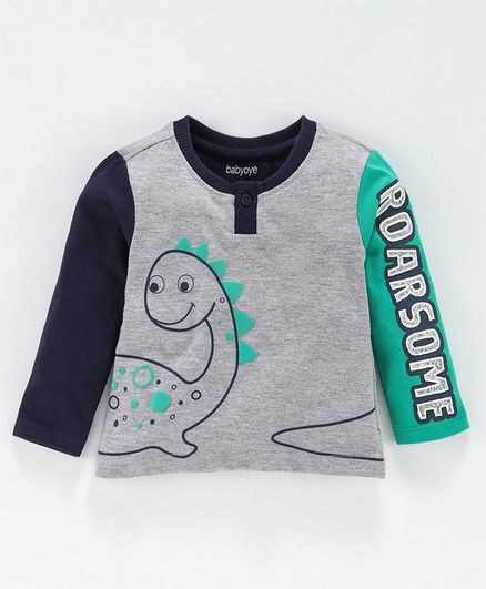 Babyoye Full Sleeves Cotton Tee Dino Print - Grey