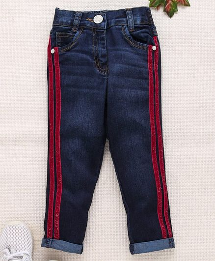 Little Kangaroos Full Length Jeans With Glitter Stripes - Dark Blue