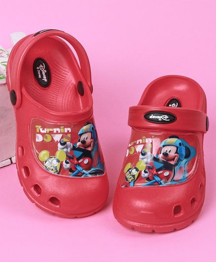 Cute Walk by Babyhug Clogs Mickey Mouse Print - Red