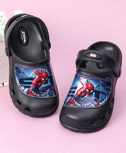 Cute Walk by Babyhug Clogs Spiderman Print - Black