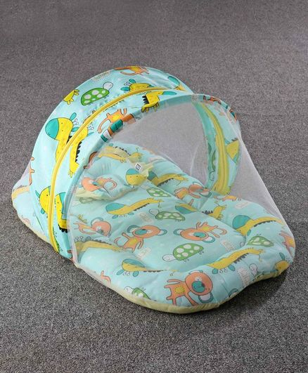 Zoe Baby Mattress With Mosquito Net & Pillow Animal Print - Green