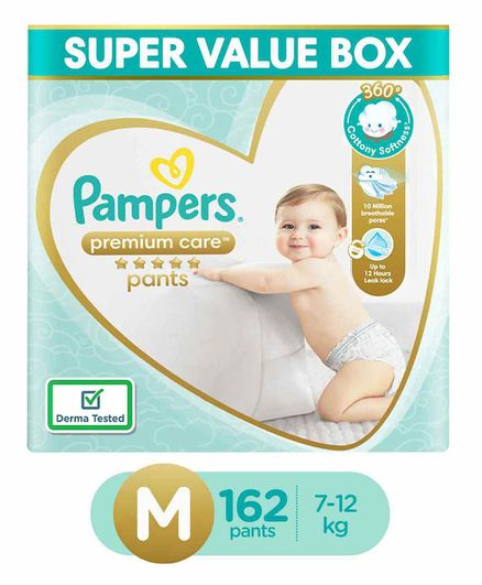 Pampers Premium Care Pants, Medium size baby diapers (MD), 162 Count, Softest ever Pampers pants