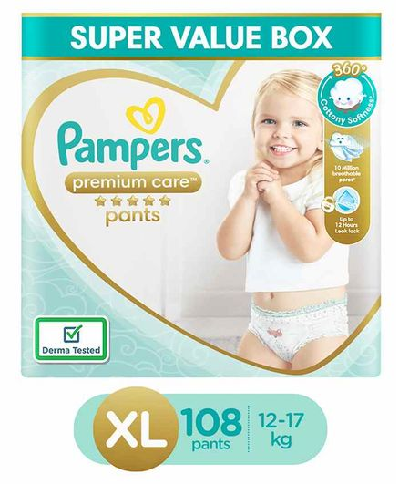 Pampers Premium Care Pants, Extra Large size baby diapers (XL), 108 Count, Softest ever Pampers pants