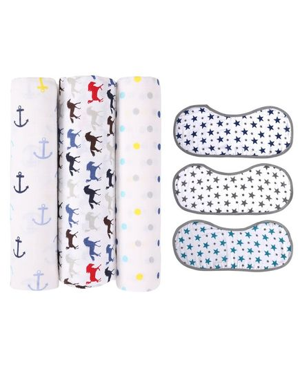 Haus & Kinder 3 Muslin Swaddle Wrap and 3 Burp Cloths Multi Print - Combo Pack