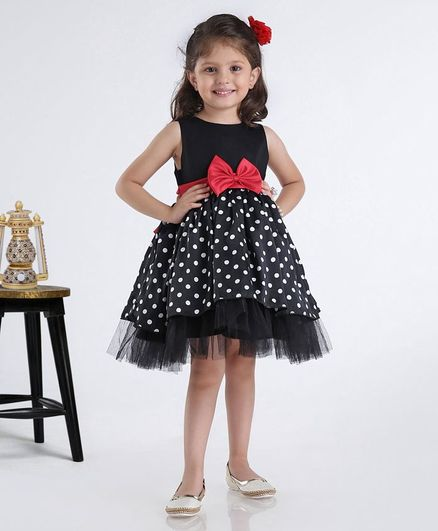 Babyhug Party Wear Sleeveless Frock With Bow Applique - Black