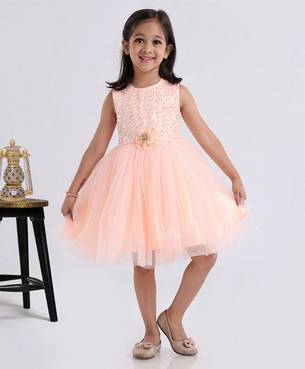 Babyhug Sleeveless Party Wear Frock Sequin Embellished - Peach