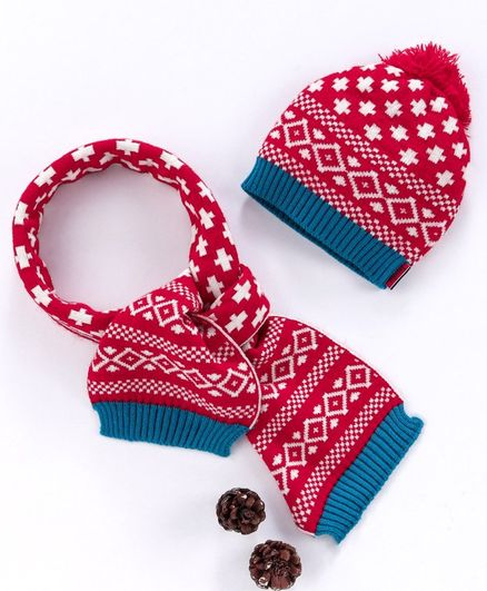 Model Woolen Cap & Muffler Set With Pom Pom - Red
