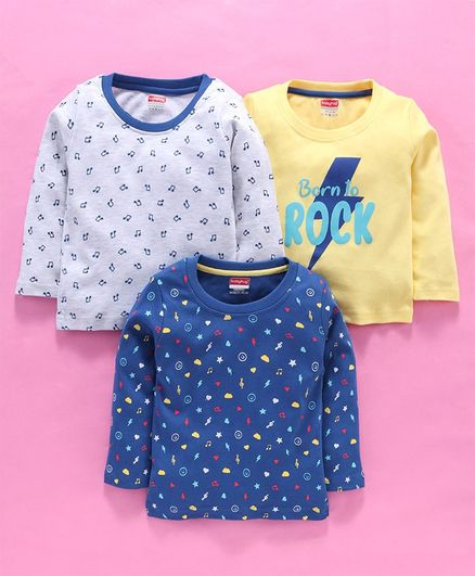 Babyhug 100 % Cotton Full Sleeves T-Shirt Pack of 3 Multi Print - Multicolour