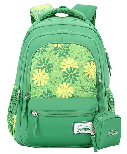 Genie Lily School Bag With Pouch Floral Print Green -18 Inches