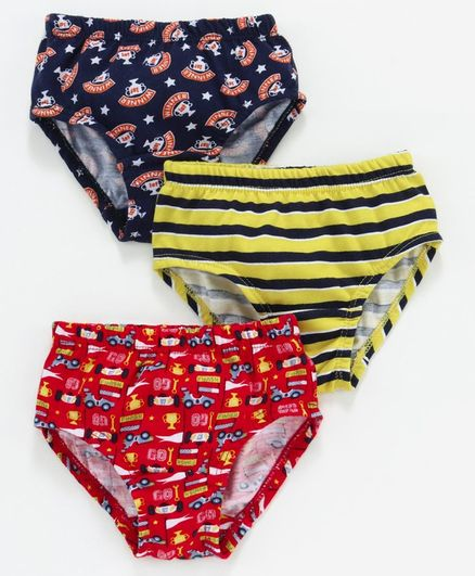 Red Rose Striped Briefs Car Print Pack of 3 - Navy Blue Red Yellow
