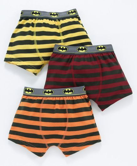Red Rose Striped Boxers Batman Logo Print Pack of 3 - Red Orange Yellow