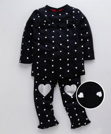 Ventra Heart Print Full Sleeves Night Suit - Black