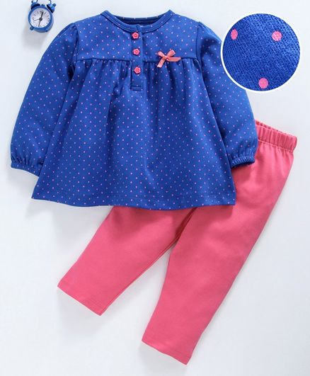 Babyhug Full Sleeves Night Wear Dot Print - Navy Blue Pink
