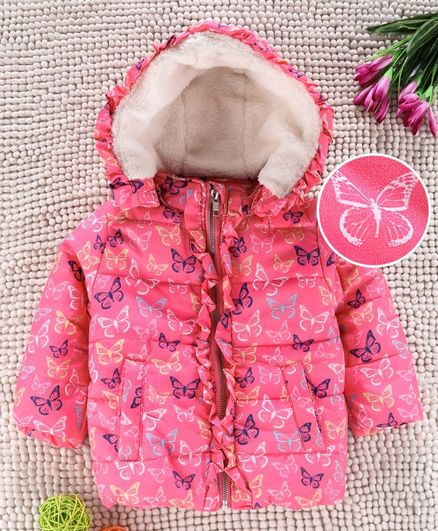 Babyhug Full Sleeves Hooded Jacket Allover Printed - Pink