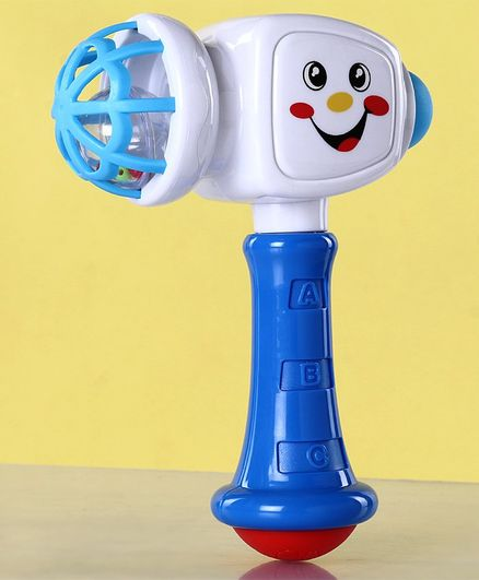 Zoe Hammer Shaped Rattle Toy - White Blue