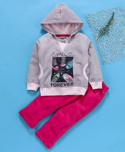 Cucumber Full Sleeves Hooded Tee & Pant Graphic Print - Pink Grey