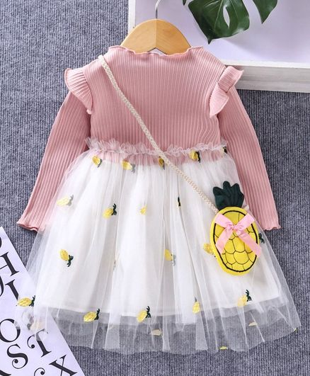 Kookie Kids Full Sleeves Frock with Side Bag Pineapple Patch - Pink