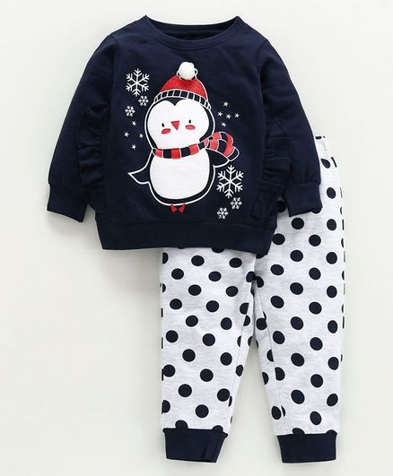 Babyoye Cotton Top & Bottom Set Penguin Print - Navy Blue