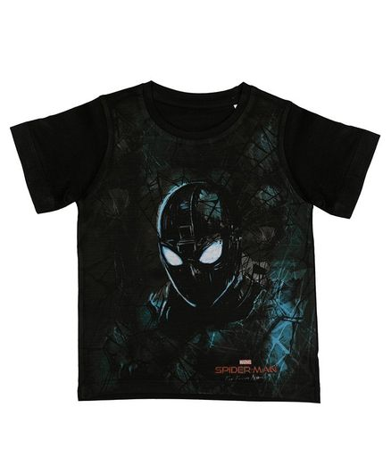 Marvel By Crossroads Spider-Man Print Half Sleeves T-Shirt - Black