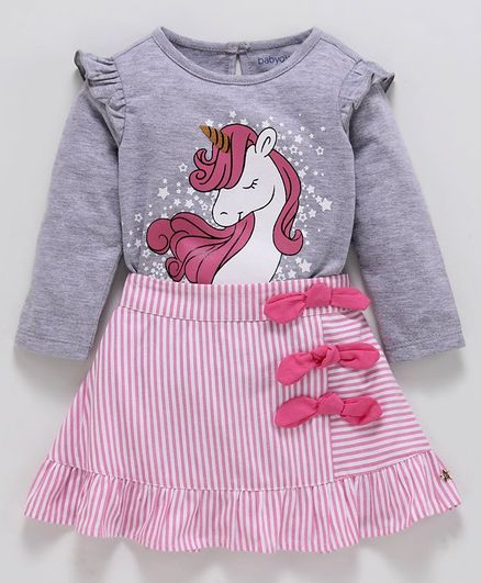Babyoye Cotton Full Sleeves Top & Striped Skirt Unicorn Print - Pink Grey