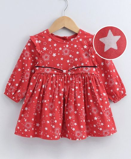 Babyoye Full Sleeves Cotton Frock Star Print - Red