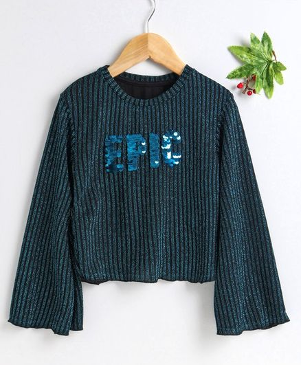 Vitamins Full Sleeves Top Sequin Epic Embroidery - Dark Teal