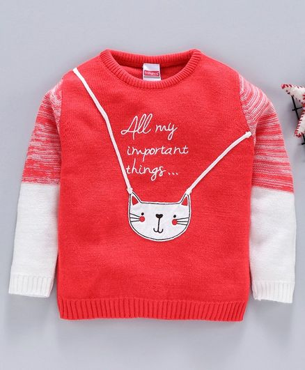 Babyhug Full Sleeves Sweater Kitty Patch - Coral White