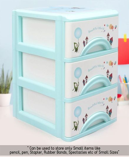 3 Compartments Chest of Drawers - Blue