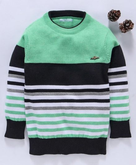 Mom's Love Full Sleeves Striped Pullover Sweater - Green