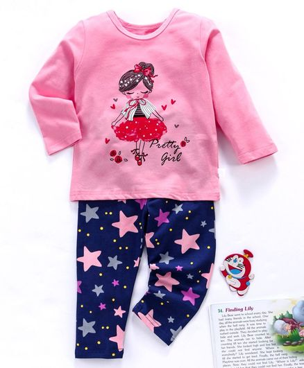 Kookie Kids Full Sleeves Night Suit Ballerina & Star Print - Pink
