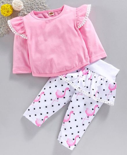 Kookie Kids Full Sleeves Top Top & Flutter Leggings Flamingo Print - Pink White