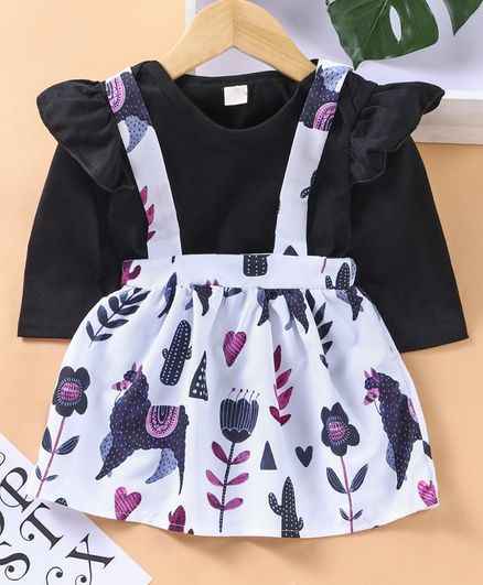Kookie Kids Full Sleeves Onesie With Skirt & Attached Suspenders Animal Print - Black White