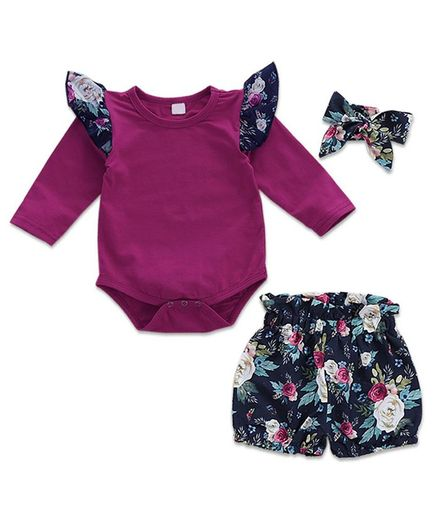 Kookie Kids Full Sleeves Onesie With Shorts Floral Print - Fuchsia Blue