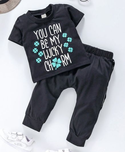 Kookie Kids Half Sleeves Tee & Lounge Pant Text Print - Black