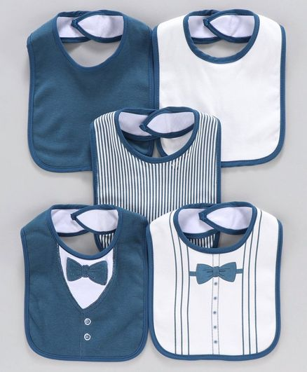 Knitted Bibs Pack of 5 - Navy