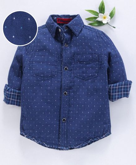UFO Polka Dot Printed Full Sleeves Shirt - Navy Blue