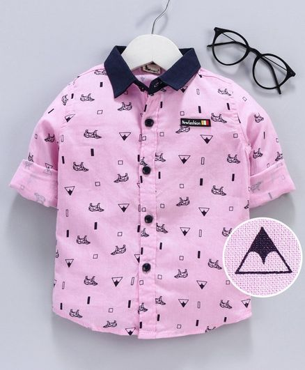 Kookie Kids Full Sleeves Shirt Triangle Print - Pink