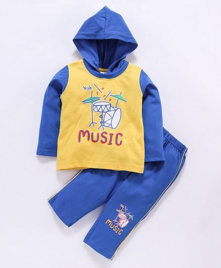 Tango Full Sleeves Hooded Tee & Lounge Pants Set Music Print - Yellow