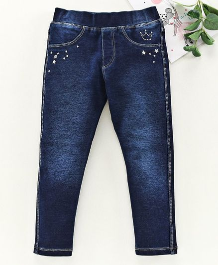 Vitamins Full Length Jeans Text Print - Dark Blue