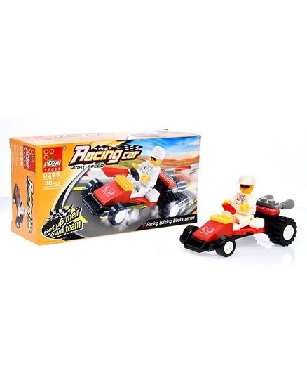 Playmate Racing Car Building Blocks Set White - 38 Pieces