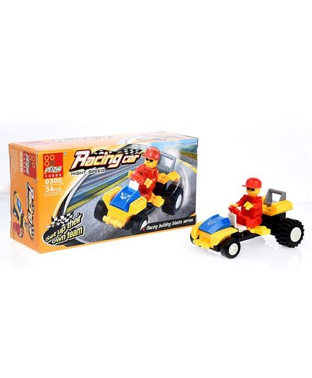 Playmate Racing Car Building Blocks Set Yellow - 34 Pieces