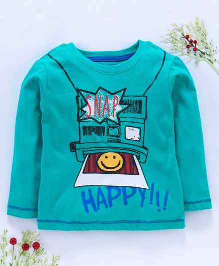 Kookie Kids Full Sleeves Tee Camera Print - Teal