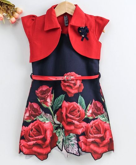 Enfance Rose Printed Sleeveless Dress With Shrug - Red