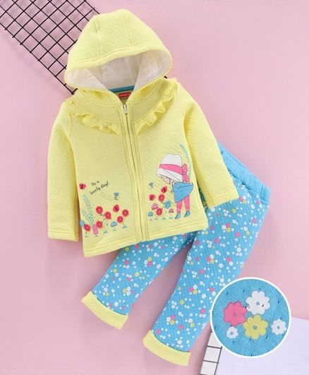 Babyhug Hooded Sweat Jacket & Lounge Pant Floral Print & Motifs - Yellow Blue