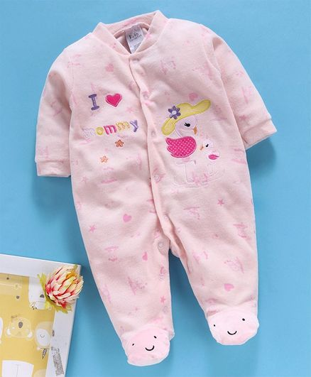 Kookie Kids Full Sleeves Winter Wear Footed Romper Flamingo Embroidered - Light Pink