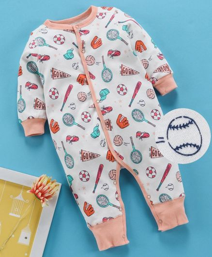 Kookie Kids Full Sleeves Romper Sports Print - Peach