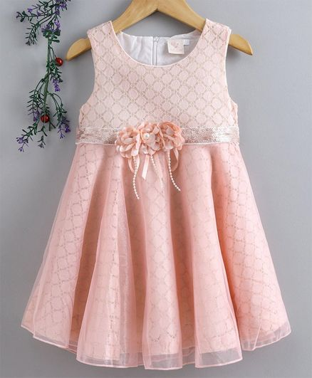 Smile Rabbit Sleeveless Party Frock Floral Applique - Pink