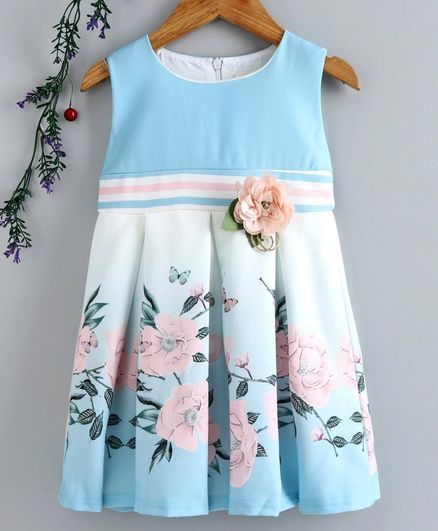 Smile Rabbit Sleeveless Floral Printed Frock - Light Blue